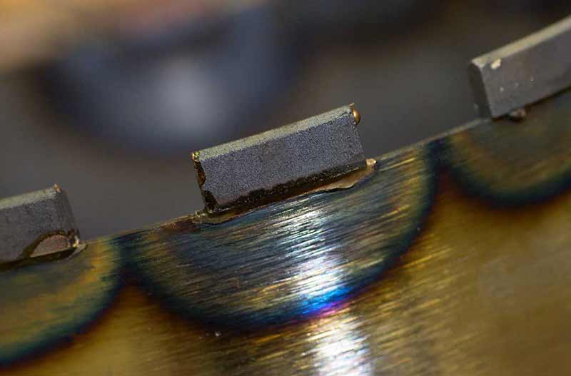 Diamond segment is soldered with drill bit
